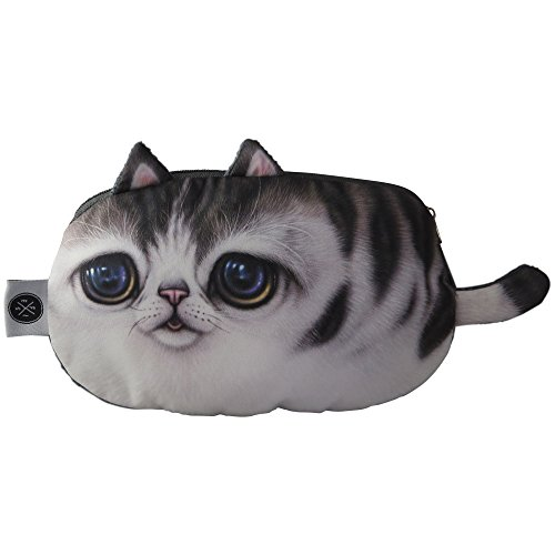 Adorable Cat Pen, Pencil, Cosmetic Case | Perfect for School, Office and Travel. Store Markers, Crayons, Erasers, Cosmetics and Coins. Perfect Present for All Occasions. (Gray)