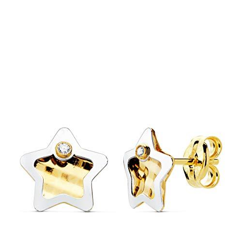 Pendientes Niña Oro Bicolor 18K Hera 7 mm