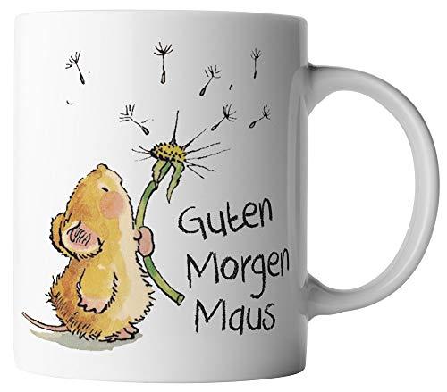 vanVerden Tasse - Guten Morgen Maus - beidseitig Bedruckt - Geschenk Idee Kaffeetasse mit Spruch, Tassenfarbe:Weiß