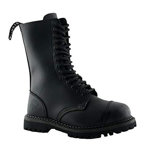 Grinders Herald Botas Unisex de Cuero Negro con Punta de Acero y 14 Ojales con Cordones Estilo Militar 12