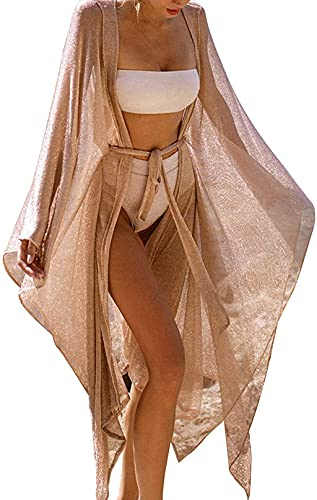 Carolilly Copricostume Donna Mare Lucido Abito da Spiaggia Lungo Sexy Elegante Bikini Cover Up in Pizzo Vestito Lungo per Vacanza Cardigan Donna Estivo (Oro, Taglia Unica)