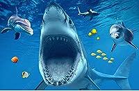 壁紙3Dサメの床の絵の壁紙-400 * 280cm