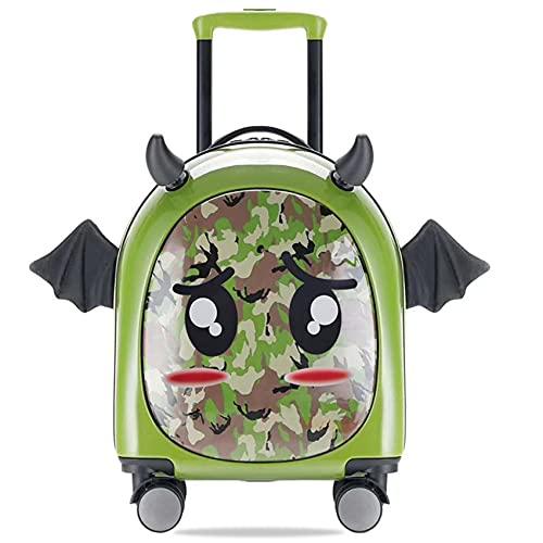 GIVROLDZ Trolley Creativo Fai-da-Te per Bambini da 16 Pollici, Bagaglio A Mano Leggero da Viaggio per Cartoni Animati, per Vacanze, Pigiama Party E Gite Scolastiche,Verde