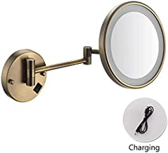 Makeup Mirror 3X / 5X LED Makeup Mirror Single Sided Wall Hanging Rotatable Folding Telescopic Vanity Mirror for Hotel Bathroom, 1.3X