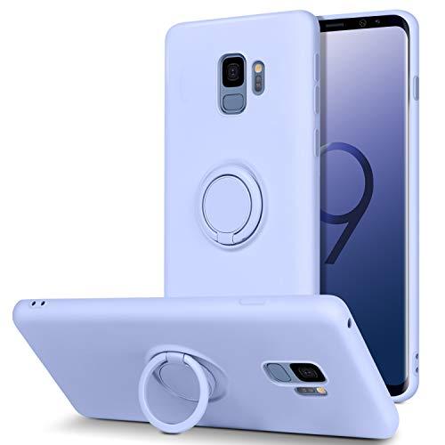BENTOBEN Coque Samsung S9, Etui Samsung S9 Caoutchouc Housse Silicone Liquide Doublure en Microfibre Douce Ultra-Mince TPU Flexible Souple Support Rond Anneau Couverture de Protection -Violet