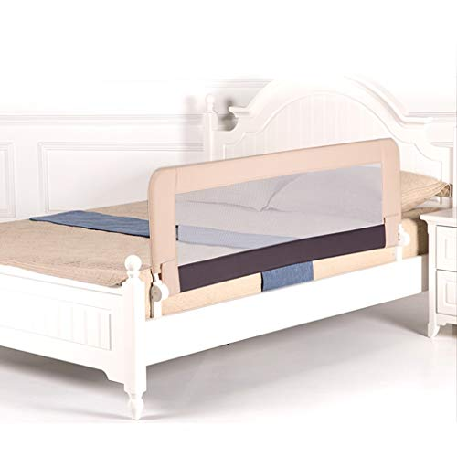 Extra breed bed Rail, comfortabele ademende Bed Rail for Baby Safety Opvouwbaar Bed Rail Guard For Kids Maat: 180 * 58cm (Color : Khaki)