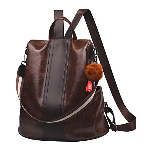 Women Backpack Purse PU Leather Anti-theft Backpack Casual Satchel Shoulder Bag for Girls(Brown)