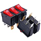Twidec/5Pcs Rocker Switch 3 Pins 2 Position ON/Off AC 20A/125V 15A/250V SPST Red LED Light Illuminated Boat Rocker Switch Toggle(Quality Assurance for 1 Years)KCD3-101N-R