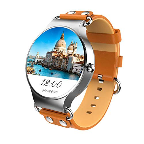 Ho Clock KW98 Smart Watch 1,39 Zoll MTK6580 1,3 Ghz Quad-Core Runde Bildschirm Fitness Sport Smart Armband Android 5,1 3G,Brown