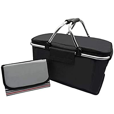 Picnic Basket with Waterproof Blanket, Insulated Lunch Tote Bag Set with Large Capacity, Aluminum Alloy Tube Handle Portable and Reusable for Travelling Camping(Black)