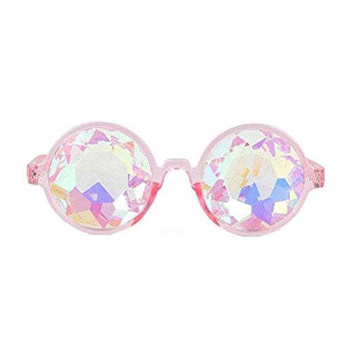 Kaleidoskop Rave Brille Damen Herren Diffraktion Kaleidoscope Gläser Rave Prism Party Brille (Rosa)