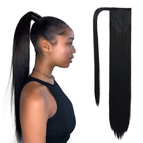 SEIKEA Clip in Ponytail Extension Wrap Around Long Straight Pony Tail Hair 28 Inch Synthetic Hairpiece - Black