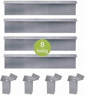 vidaXL Schneckenblech Schneckenzaun und Eckverbindung Schneckenabwehr Eckteile 4 Stk Verzinkter Stahl 17,5x17,5x25 cm