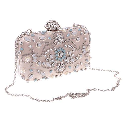 Borsetta Pochette Da Giorno Donna A Catena Strass Perla Diamante Da Sera Elegante Lusso Matrimonio Cerimonia Nuziale - beige, 20 x 12 x 5.5 cm