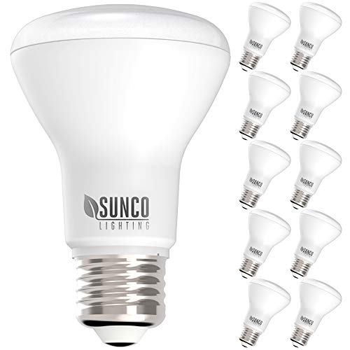 Sunco Lighting 10 Pack BR20 LED Bulb, 7W=50W, Dimmable, 3000K Warm White, 550 LM, E26 Base, Indoor Flood Light for Home or Office Space - UL & Energy Star
