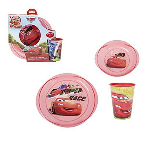 SRV Hub - Juego de 3 piezas de comedor para niños o desayuno, con personajes de Disney, diseño de coches, ideal para picnic y camping, no tóxico, sin BPA