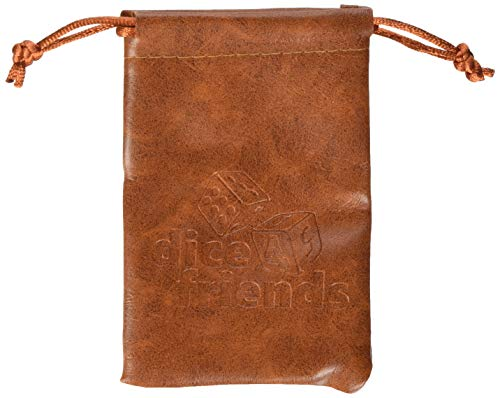 Dice4friends 9132 - Würfelbeutel: PU-Leather-Bag Brown
