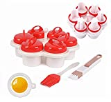 Cocedor de huevos de silicona (6 unidades), nuevo cuecehuevos de silicona sin cáscara Easy Eggs, Maker Egg Cooker sin BPA, antiadherente, huevera creativa con cepillo de aceite