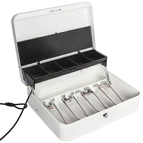 Jssmst Large Locking Cash Box with Money Tray Lock Box with Security Cable Metal Money Box with Key Lock White