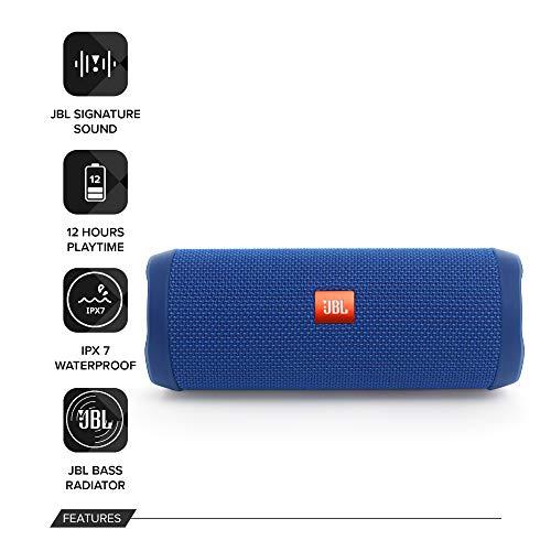 JBL Flip 4 Waterproof Portable Bluetooth Speaker (Blue)