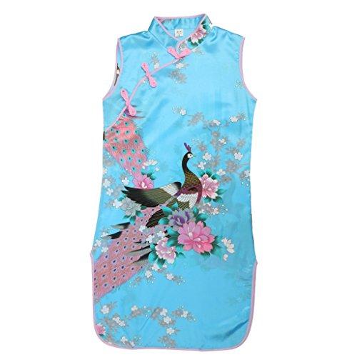 Vestido Floral Del Pavo Real Chino de Qipao Cheong Clásico Elegante Regalo Banquete Fiesta Verano para Niñas Chicas - 10, Azul