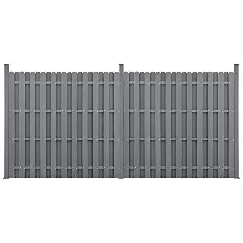 neu.holz] WPC Gartenzaun Gerade Ausführung mit Pfosten 185x376cm Grau Sichtschutz Windschutz Lamellenzaun Zaun