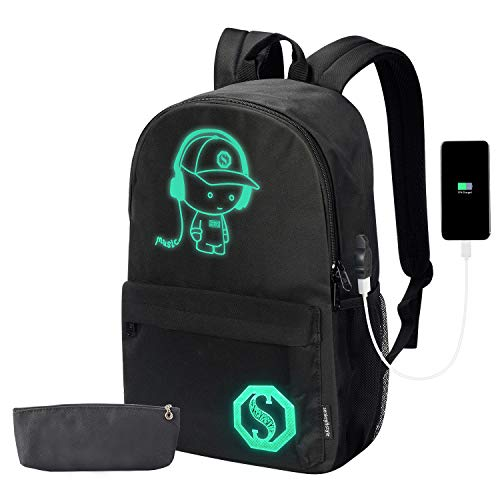 Anime Cartoon Luminous Backpack with USB Charging Port and Anti-theft Lock & Pencil Case Daypack Shoulder Rucksack Laptop Bag