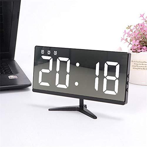 Lpinvin Sveglia Specchio Orologio di Controllo Digitale Touch Sveglia Orologio da Tavolo elettronico a Tempo LED Comodino Orologio (Colore : Black, Size : One Size)