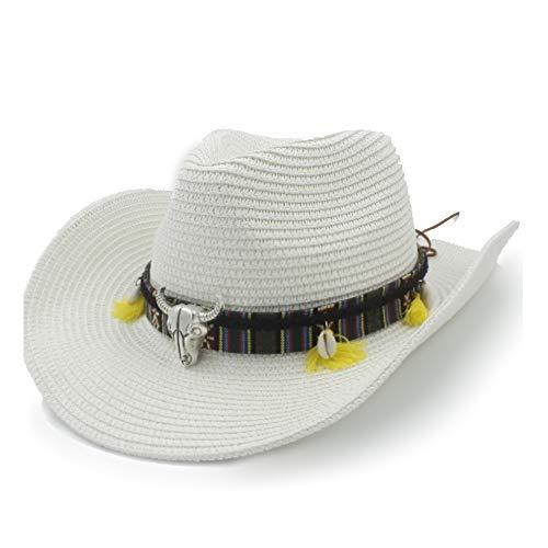 MXL Sombrero de Verano Sombrero de Rafia Sombrero de Vaquero Señoras Cinturón de Cuero Protector Solar Cáscara Respirable Sombrero de Paja Sombrero de Panamá Hombres (Color : Blanco, tamaño : 58cm)