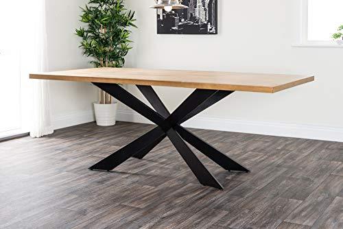 FurnitureboxUK® Large GEORGIO Modern Chic Rustic Metal & Wood Dining Table 8 10 12 Seater