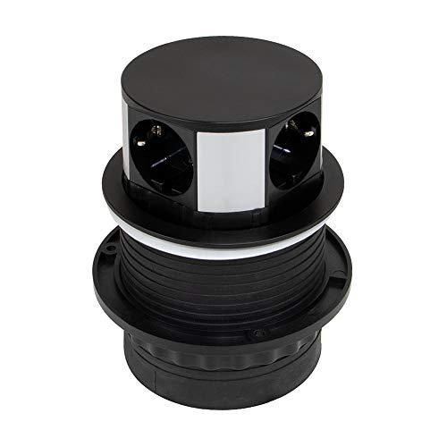 EMUCA - Regleta multienchufe retráctil con 3 enchufes schuko EU y 2 Puertos USB, Torre de enchufes Vertical empotrable con Push para encimera de Cocina o Escritorio