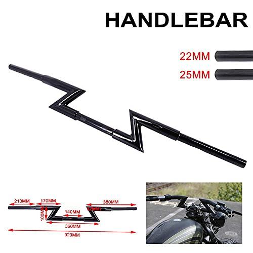 Motorrad-Lenker, Z-Stangen, 22 mm/25 mm, für Harley Custom Chopper Softail Dyna XL Sportster Street Bob Triumph Ya.ma.ha Kawasaki – Schwarz