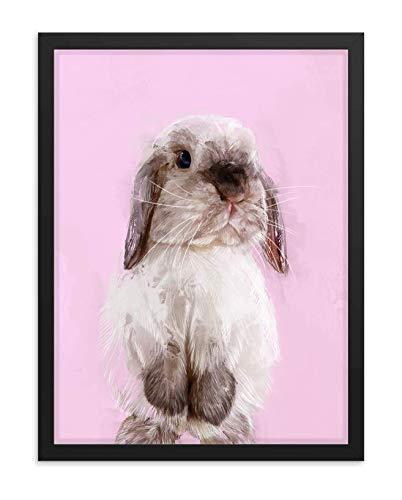 Hilltop Pixel Rabbit Framed Wall Art Print, Cute Bunnie Painting, Pet Animal Home Decor Gift (8Wx10L, Black Frame)