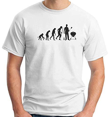T-Shirt Uomo Bianco BEER0035 BBQ Evolution
