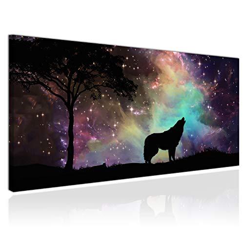 XXL Wandbild, Leinwandbild 100x50cm, Der Wolf und die Sterne, Galaxie und Universum - Panoramabild Keilrahmenbild, Bild auf Leinwand - Einteilig