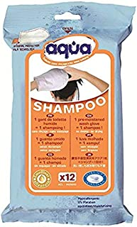 Cleanis No Rinse Aqua Shampoo Gloves, Medical Grade Pre-Moistened Glove - No Water, Soap, Rinsing or Drying Necessary - Pouch of 12 Gloves
