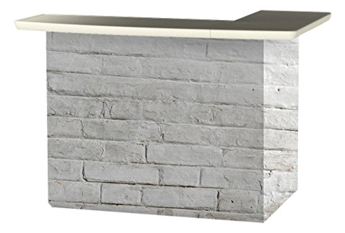 Best of Times 2000W2408 White CINDERBLOCK Portable Patio Bar Table, One Size, L-Shaped
