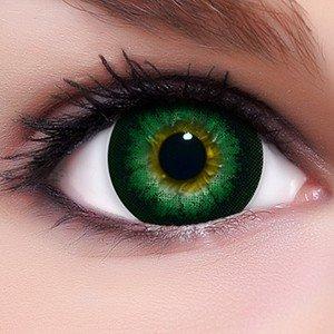 Linsenfinder Lenzera Circle Lenses grüne 'Babe Green' ohne und mit Stärke + Kombilösung + Behälter 15mm Big Eyes farbige Kontaktlinsen