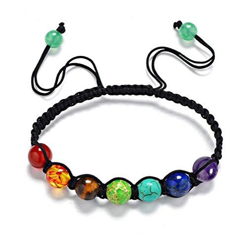 MILAKOO Braided Rope 7 Chakra Bracelet for Women Men Reiki Healing Balance Bead Bracelet Adjustable