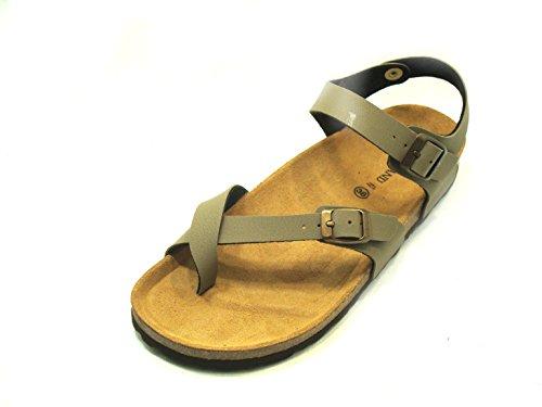 GRÜNLAND INFRAPOLLICE Damen-Sandale aus Kork Sara SB0004 - schwarz und taupe, Beige - Taupe - Größe: 36 EU