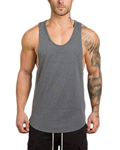 ATTAOL Herren Gym Muscle Fitness Weste Atmungsaktiv Low Cut Bodybuilding Tank Top Lifting Fitness Outfit Ärmelloses Oberteil Rauchfarben 2XL
