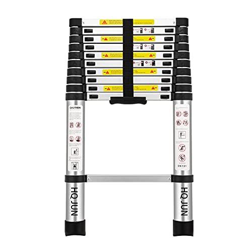 (10.5Ft/3.2M) Telescoping Ladders,EN131Standards Multi-Purpose Folding Aluminum Extension Ladder
