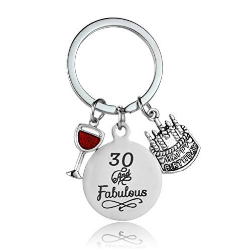 TAOZIAA wijnglas sleutelhanger gelukkig verjaardag taart sleutelhanger roestvrij staal sleutelhanger cadeau