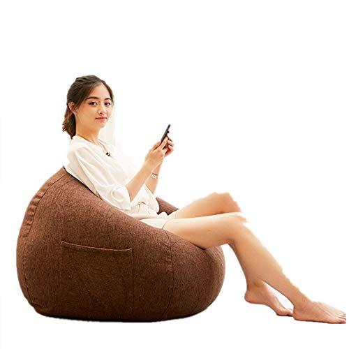 Puf para sofá o silla de juego grande con cordón clásico para uso en interiores y exteriores, perfecto salón o sala de juegos para casa o jardín para oficina en casa, fácil de limpiar (color: marrón)