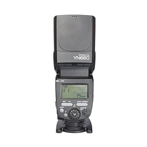 Yongnuo YN660 - Flash con Zapata Universal (GN 66 ISO 100 / 200mm, 16 Canales, LCD), Color Negro