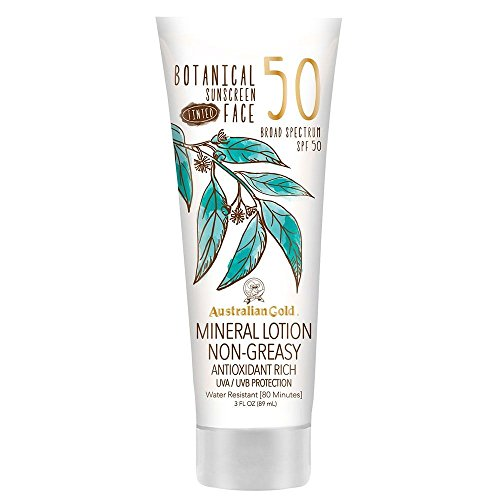 Australian Gold Botanical Sunscreen Tinted Face Mineral Lotion SPF 50 | 3 Ounce | Broad Spectrum | Water Resistant | Same Formula as Fair/Light: B07YZQTKDJ