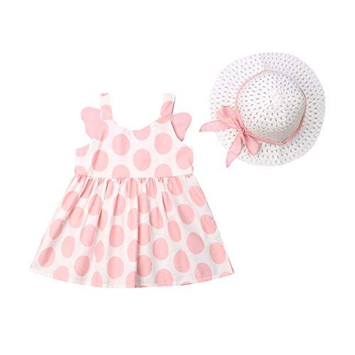 Qingshan Infant Baby Girls Sleeveless Dresses - Robe sans Bretelles à imprimé Floral et Ceinture pour Tout-Petits + Jupe Occasionnelle d'été pour Fille avec Chapeau de Soleil (Rosa, 80)