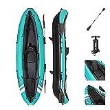 Bestway Unisex's BW65118 Hydroforce Ventura Kayak, Bote Inflable con Bomba de Mano, Remo y Bolsa de Almacenamiento, Azul Claro, una Plaza