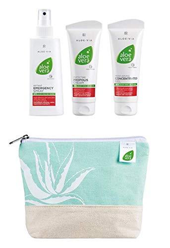 LR Aloe Via Aloe Vera Box mit Emergency Spray 150ml Propolis Creme 100ml und Gel Konzentrat 100ml inkl. GRATIS Summer Bag