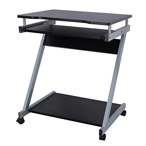 VASAGLE Schreibtisch, Computertisch mit 4 Rollen, 2 Davon mit Bremsen, PC-Tisch leichtgängiger Tastaturauszug, erleichterte Montage, platzsparender PC-Tisch in Z-Form, Schwarz LCD811B